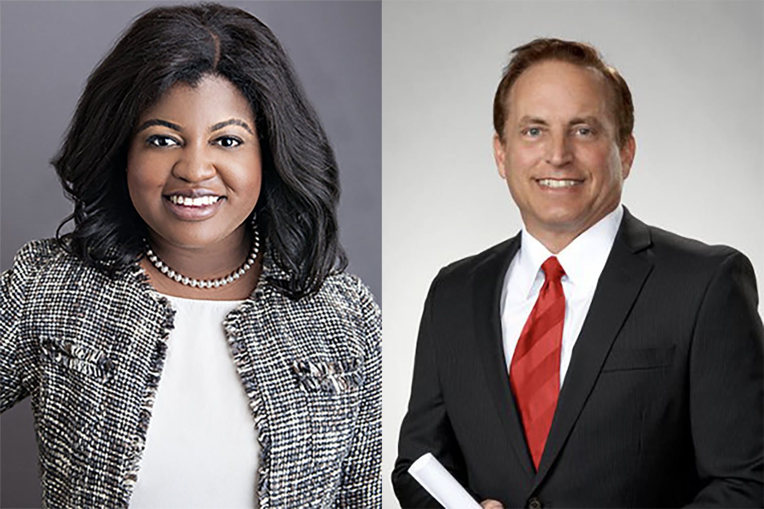 Democrat Deidre DeJear (left) is facing Republican incumbent Paul Pate for the position of Iowa Secretary of State.