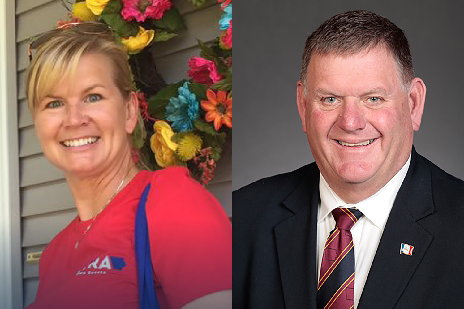 Republican Heather Hora (left) seeks to take over the State Senate District 39 seat  from Democratic incumbent Kevin Kinney (right).