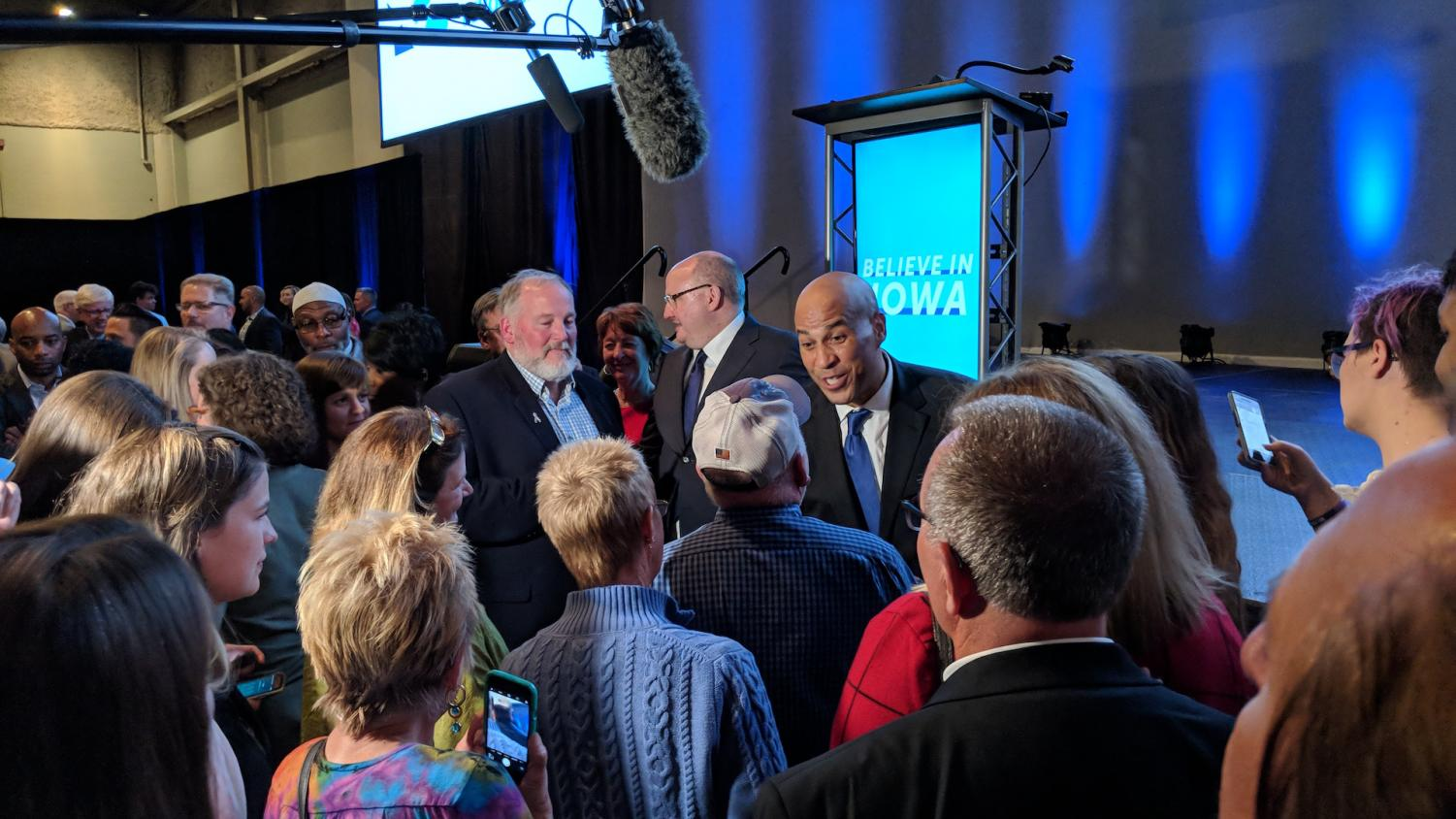 Sen. Cory Booker, D-N.J., interacts with the crowd at the Iowa Democratic Party's fall gala at HyVee Hall in Des Moines on Saturday, Oct. 6, 2018.  There is speculation that Booker will launch a 2020 presidential campaign, though he has not announced plans to do so yet.