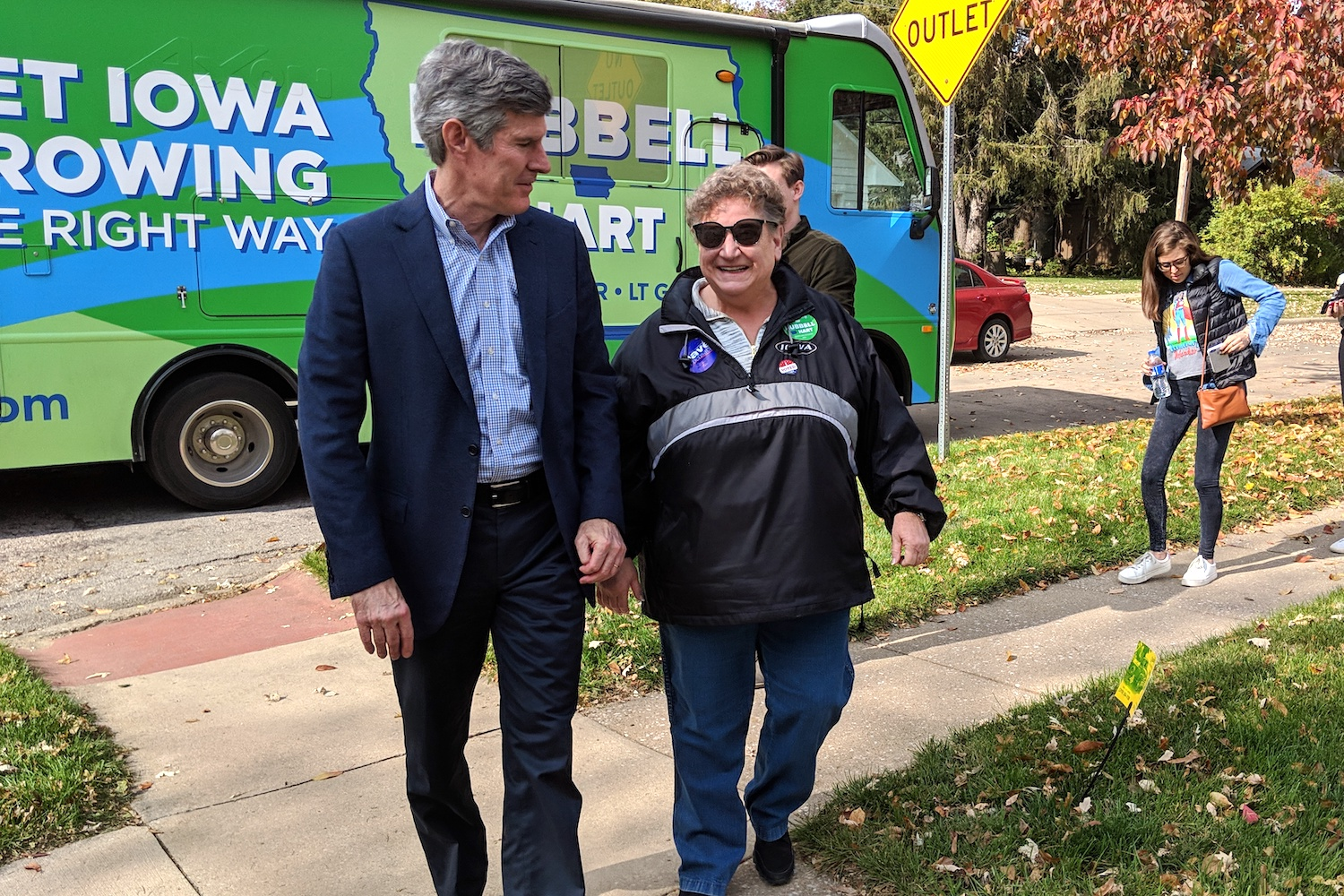 Democratic candidate for governor Fred Hubbell stops by a canvassing event in Iowa City on Oct. 27. Walking with him is Iowa representative Mary Mascher, of Iowa City.