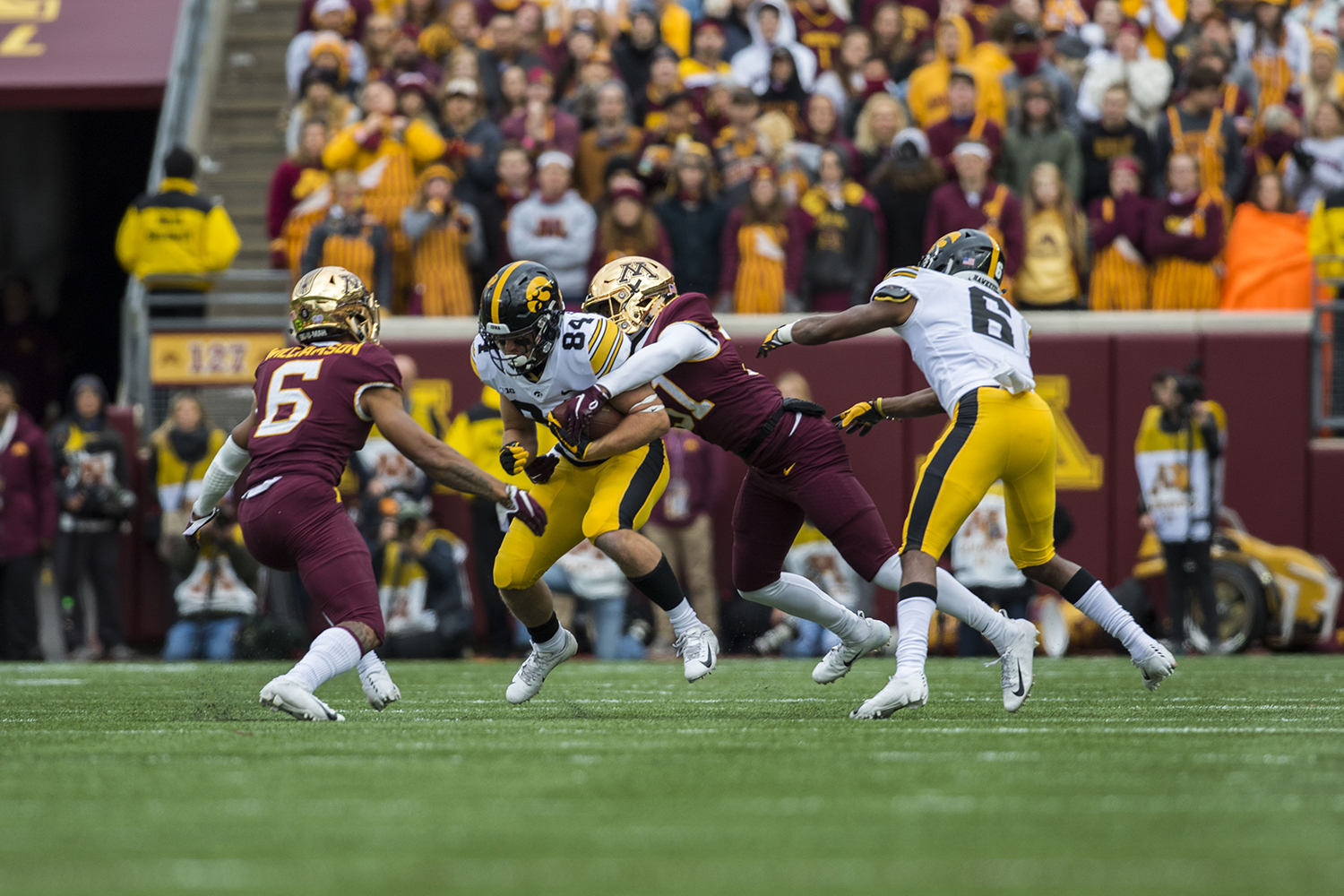 Iowa%27s+Nick+Easley+is+tackled+by+Minnesota%27s+Klondre+Thomas+during+the+Iowa%2FMinnesota+football+game+at+TCF+Bank+Stadium+in+Minneapolis+on+Saturday%2C+October+6%2C+2018.+The+Hawkeyes+defeated+the+Golden+Gophers%2C+48-31.+