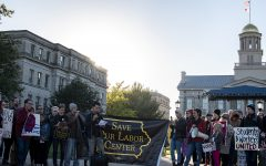 Students, faculty members, and community members rally to save UI Labor Center