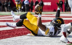 Iowa tight end Noah Fant catches a touchdown during Iowa's game at Indiana at Memorial Stadium in Bloomington on Saturday, October 13, 2018. The Hawkeyes lead the Hoosiers 21-10 at the half. (Katina Zentz/The Daily Iowan)