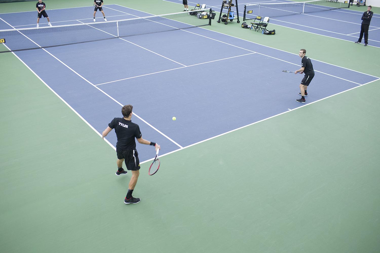 Iowa tennis plays against Western Michigan in Iowa City on Friday, Jan. 19, 2018.