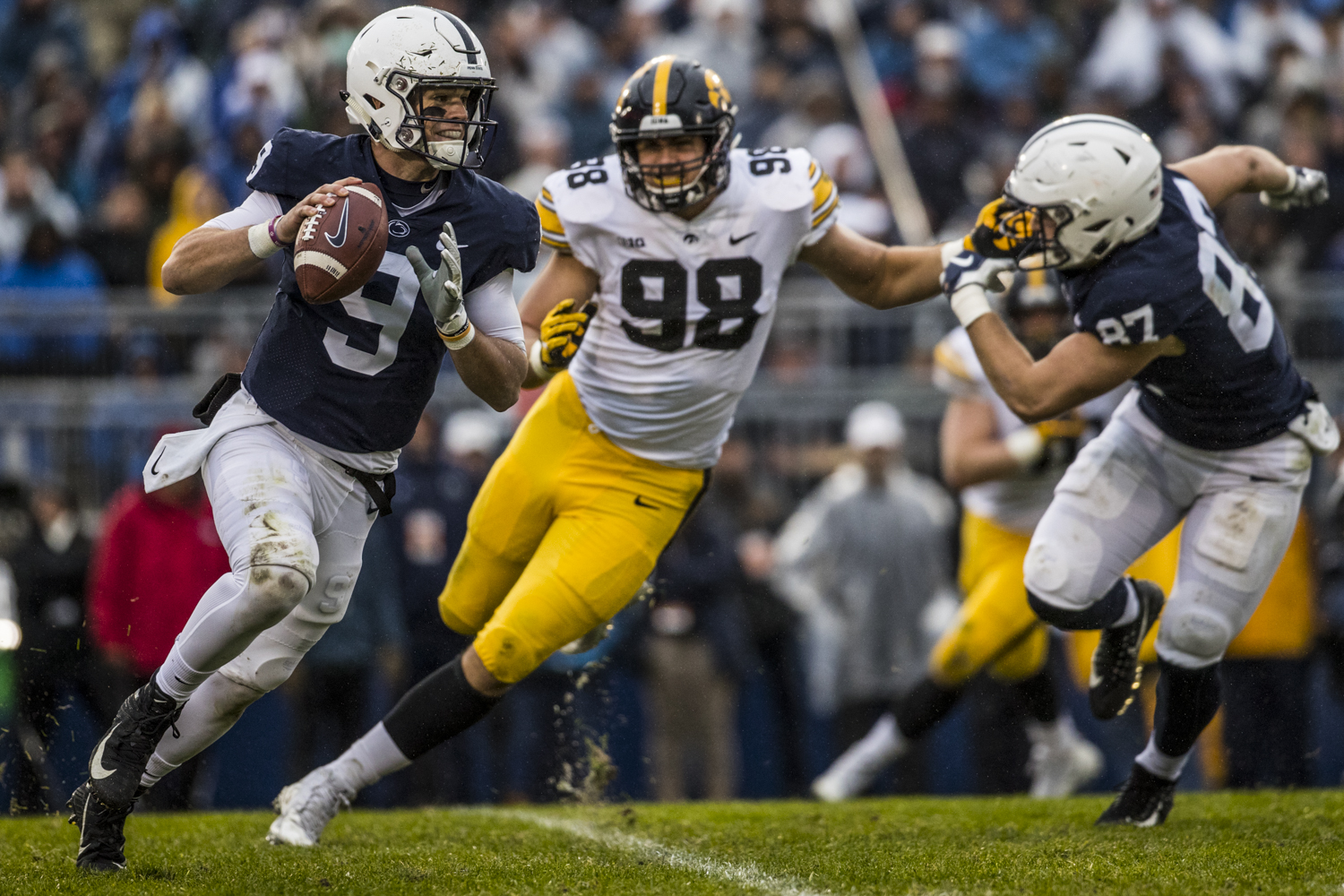 Penn State quarterback Trace McSorley rolls out of the pocket during Iowa's game against Penn State at Beaver Stadium on Saturday, October 27, 2018. The Nittany Lions defeated the Hawkeyes 30-24.
