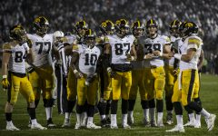 The Iowa offense Huddles during Iowa's game against Penn State at Beaver Stadium on Saturday, October 27, 2018. The Nittany Lions defeated the Hawkeyes 30-24.