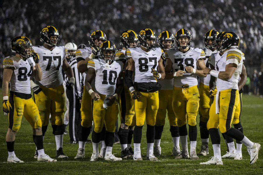 The+Iowa+offense+Huddles+during+Iowa%27s+game+against+Penn+State+at+Beaver+Stadium+on+Saturday%2C+October+27%2C+2018.+The+Nittany+Lions+defeated+the+Hawkeyes+30-24.