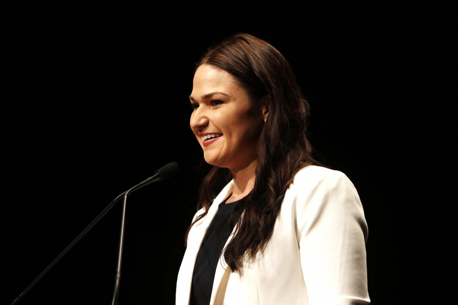 Abby Finkenauer participates in a debate with Congressman Rod Blum, R-Iowa, at the University of Northern Iowa on Friday, Oct. 5.