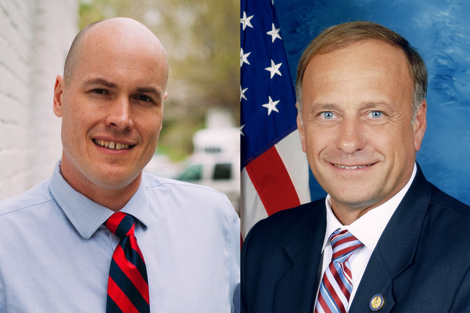 Democrat J.D. Scholten  (left) is running against Republican incumbent Steve King to take a seat in the U.S. House of Representatives.