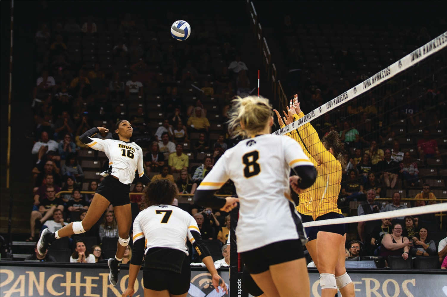 Taylor Louis spikes the ball during Iowa's match against Michigan at Carver-Hawkeye Arena on September 23, 2018. The Hawkeyes were defeated 3-1.