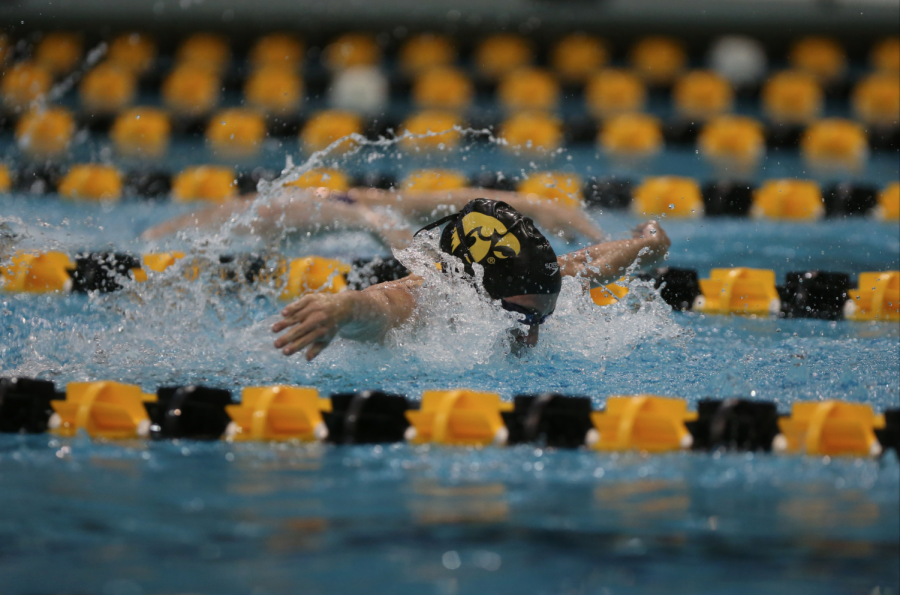 Iowa%27s+Meghan+Hackett+swims+in+the+Women%27s+100-meter+fly+during+the+Iowa-Northwestern+meet+at+the+Campus+Recreation+and+Wellness+Center+on+Saturday%2C+Jan.+21%2C+2017.+Hackett+finished+in+first+with+a+time+of+57.47.+The+Hawkeyes+defeated+the+Wildcats%2C+156-144.
