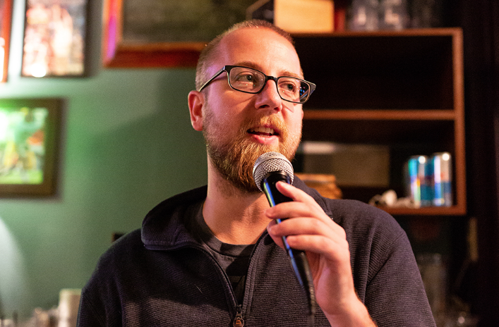 Andrew Juhl hosts a bar trivia night a Micky's Irish Pub in Iowa City on Wednesday, Oct. 10, 2018.