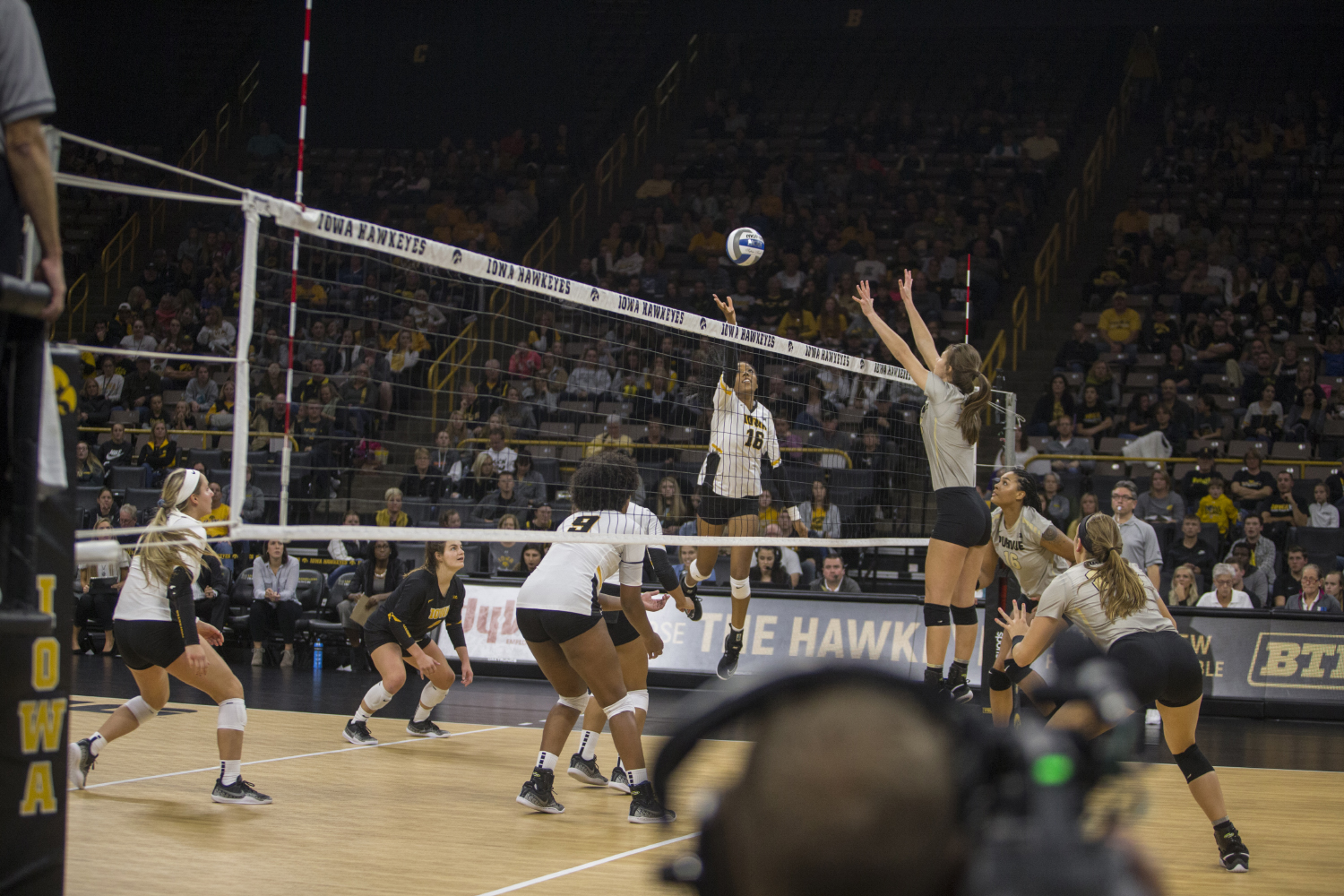 Senior Taylor Louis sends the ball over the net during Iowa volleyball against Purdue at Carver-Hawkeye Arena in Iowa City on Saturday, Oct. 13, 2018. Purdue defeated Iowa 3-2.