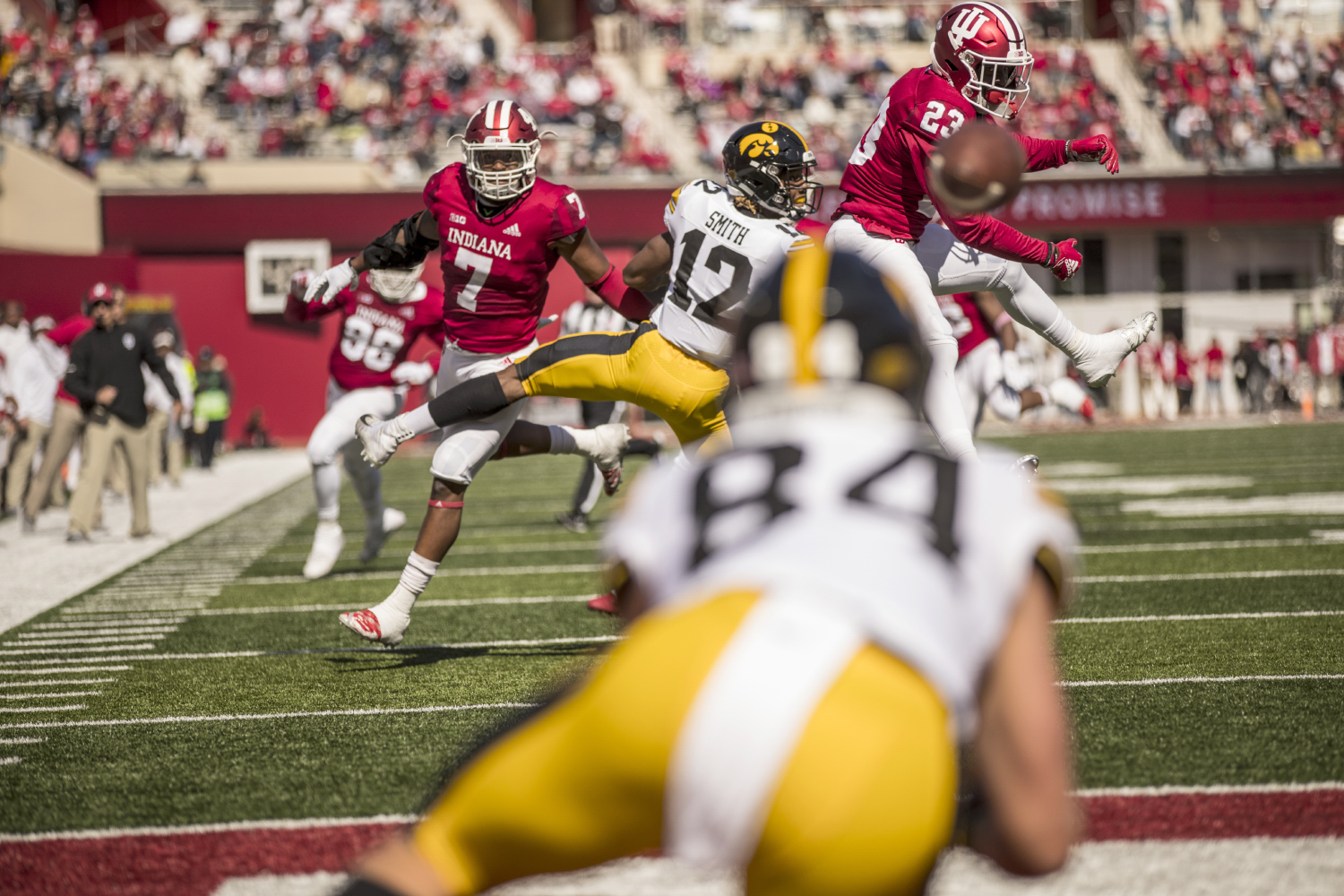 Iowa+wide+receiver+Nick+Easley+%2884%29+makes+a+diving+catch+on+a+deflected+pass+for+a+touchdown+during+Iowa%27s+game+against+Indiana+at+Memorial+Stadium+in+Bloomington+on+Saturday%2C+October+13%2C+2018.+The+Hawkeyes+defeated+the+Hoosiers+42-16.
