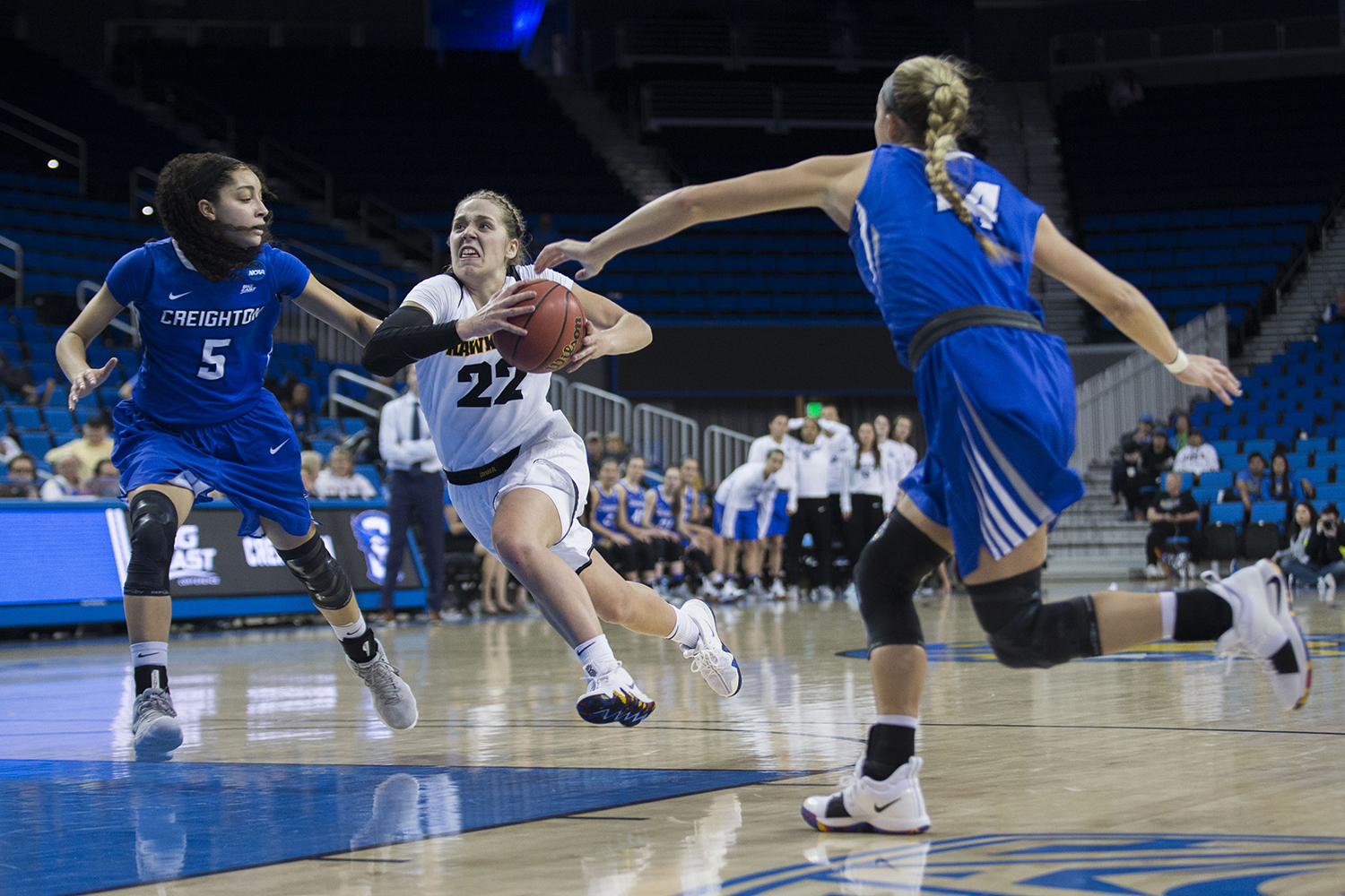 Iowa guard Kathleen Doyle drives to the hoop during the Iowa/Creighton NCAA tournament first round basketball game at Pauley Pavilion on UCLA's campus in Los Angeles on Saturday, March 17, 2018. The Bluejays defeated the Hawkeyes, 76-70.