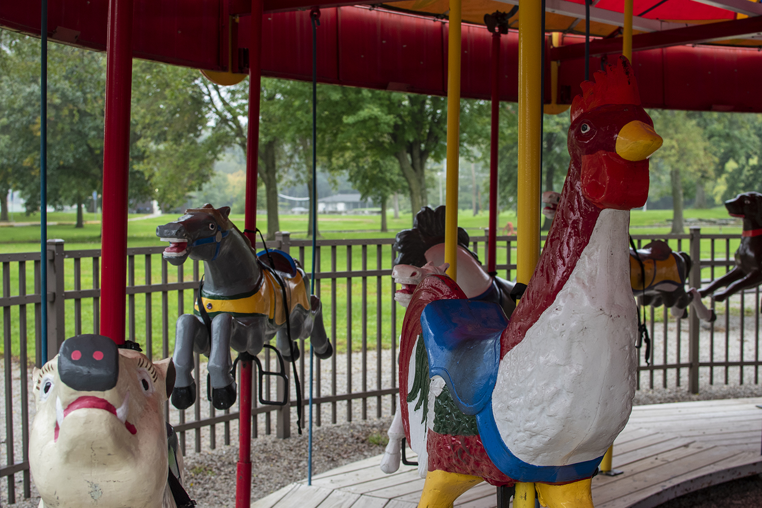The City Park carousel is seen on Monday, October 1, 2018. Iowa City is auctioning off various amusement park rides from the park. (Thomas A. Stewart/The Daily Iowan)