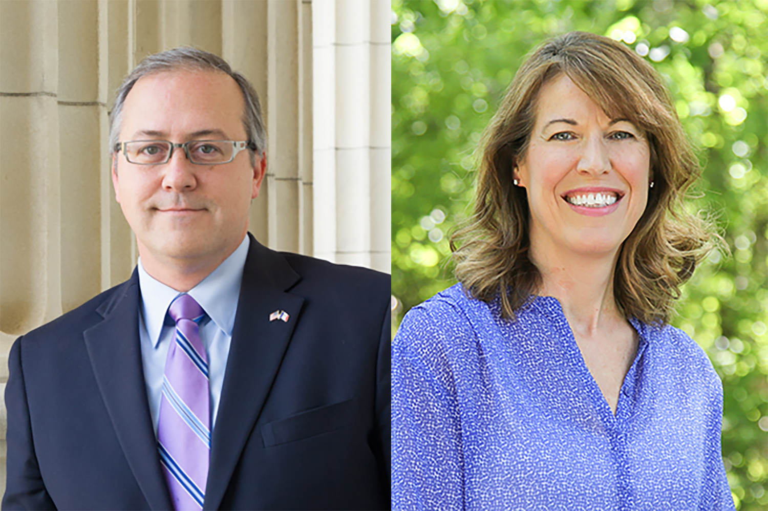 Republican David Young (left) is running against Democrat Cindy Axne (right) to keep his seat in the U.S. House of Representatives for Iowa's 3rd District.
