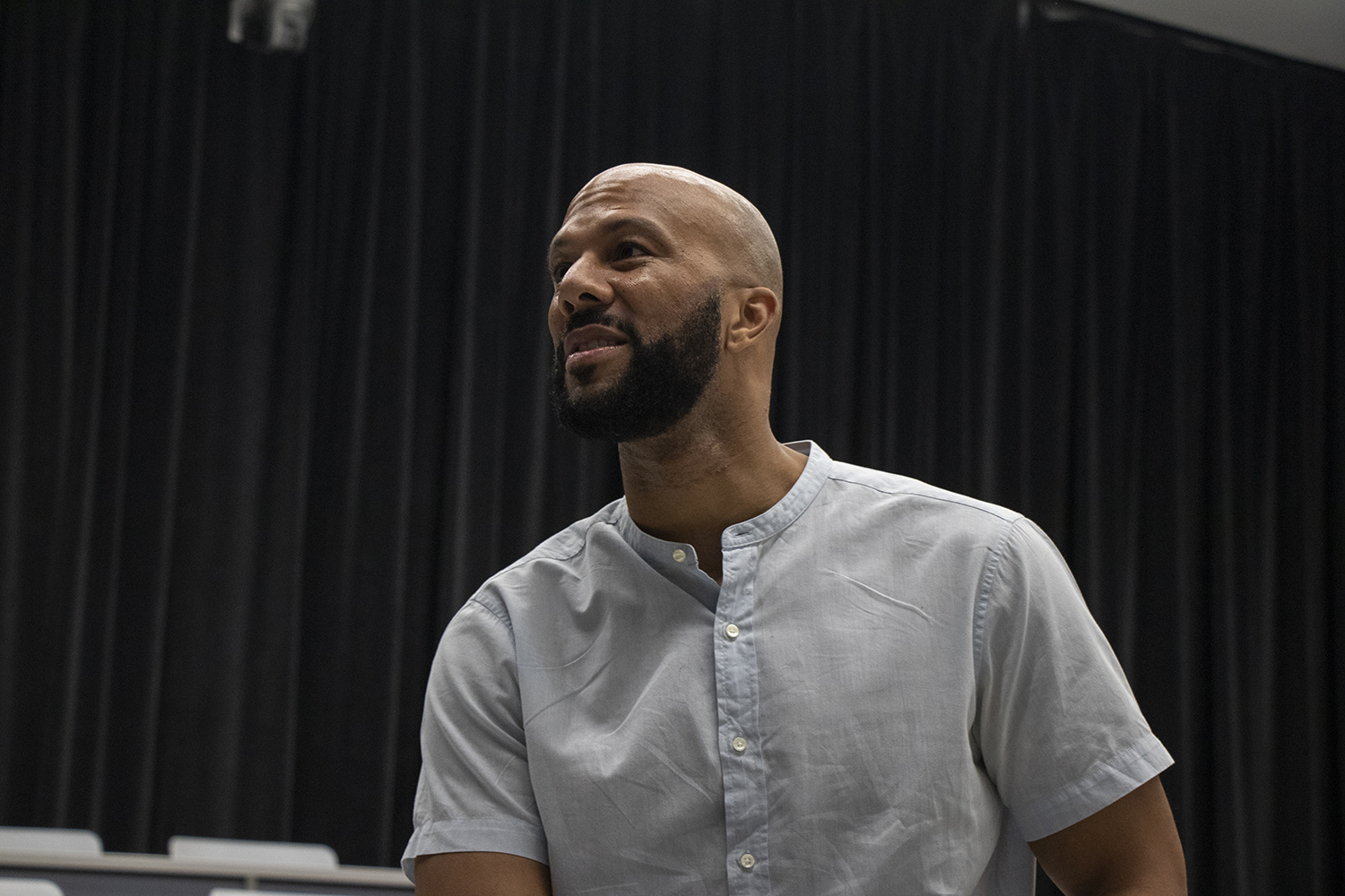 Music artist Common addresses members of the media during a Meet and Greet at the Voxman Music Building in Iowa City on Oct. 6, 2018. The meet and greet, organized by AFRO house, gave African-American students the opportunity to talk with Common about his successes and struggles.