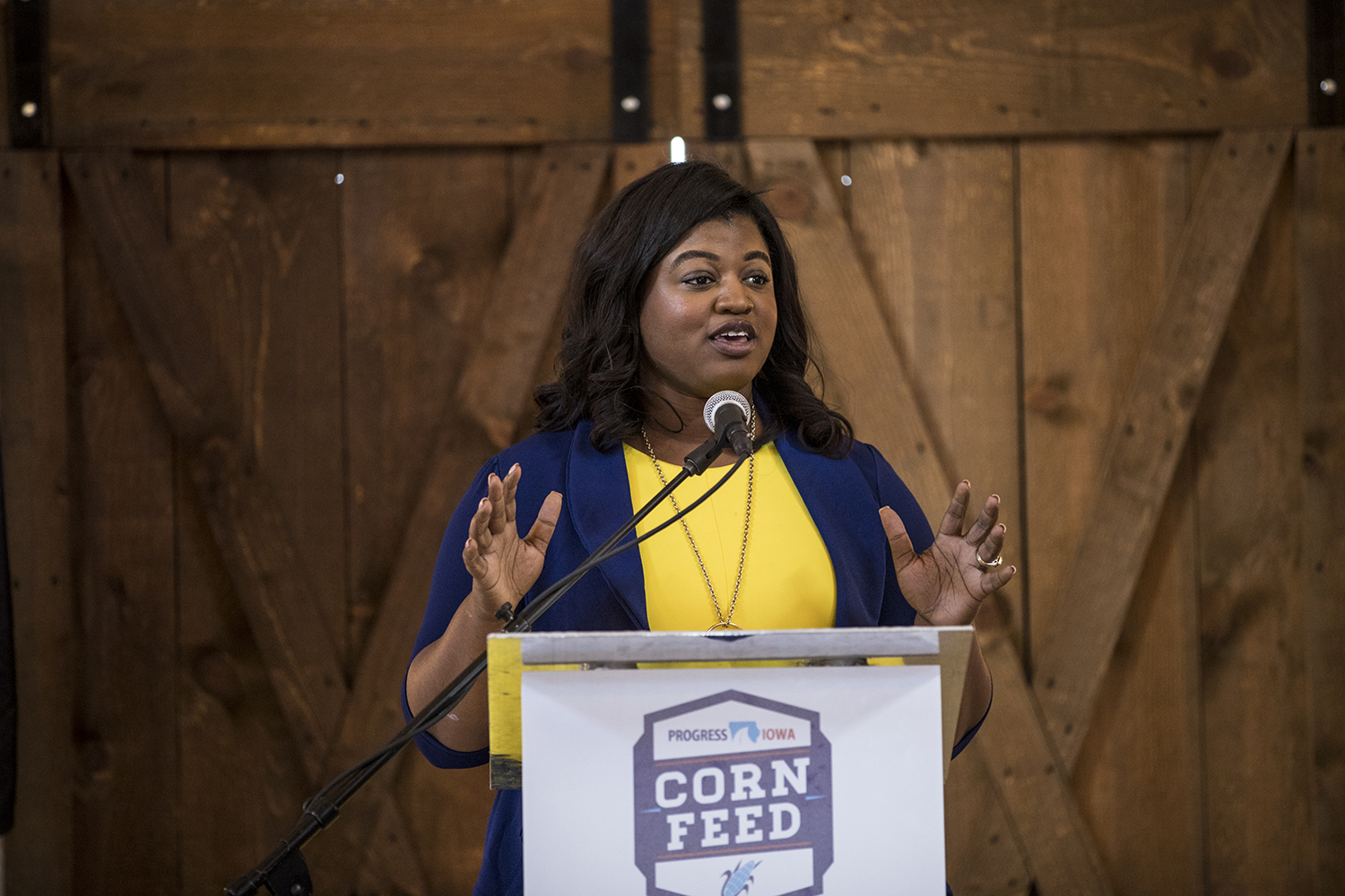 Democratic candidate for Secretary of State Deidre DeJear speaks during the Progress Iowa Corn Feed in Bondurant Iowa on Sunday, September 16, 2018.  The event featured a variety of local and national democratic politicians who spoke on how Democrats can work together leading up to the midterm elections.