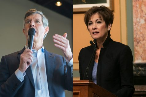 Democrat Fred Hubbell (left) and current Republican Gov. Kim Reynolds are running for Iowa governor.