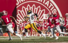 Iowa tight end Noah Fant runs after a catch during Iowa's game against Indiana at Memorial Stadium in Bloomington on Saturday, October 13, 2018. The Hawkeyes defeated the Hoosiers 42-16.