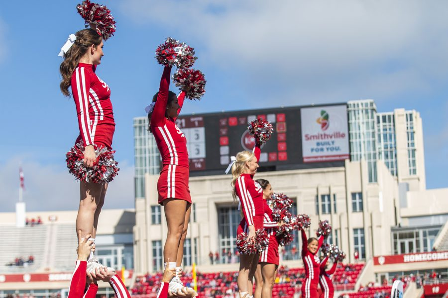 Indiana+cheerleaders+wave+to+the+crowd+during+Iowa%27s+game+at+Indiana+at+Memorial+Stadium+in+Bloomington+on+Saturday%2C+October+13%2C+2018.+The+Hawkeyes+beat+the+Hoosiers+42-16.