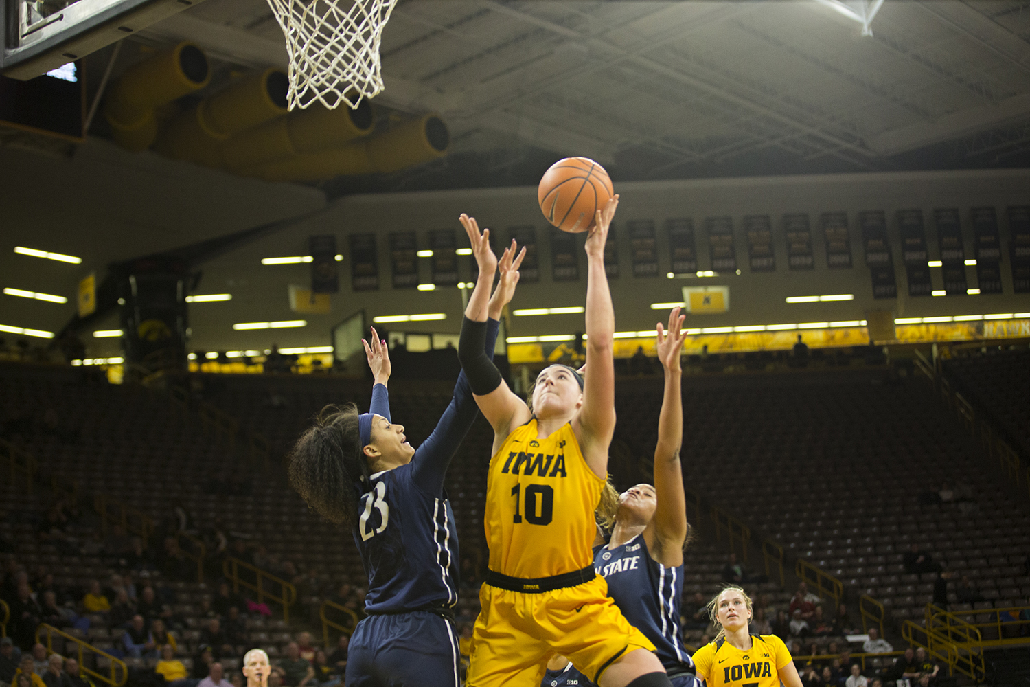 Iowa forward Megan Gustafson attempts a shot during the Iowa/Penn State basketball game at Carver-Hawkeye Arena on Thursday, Feb. 8, 2018.