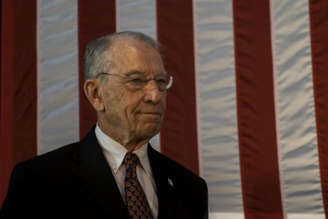 Sen. Chuck Grassley, R-Iowa, stands on stage at the Second Annual Harvest Festival on Saturday, Oct. 13, 2018. He serves as the Chair of the Senate Judiciary Committee.