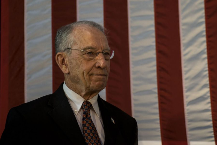 Sen.+Chuck+Grassley%2C+R-Iowa%2C+stands+on+stage+at+the+Second+Annual+Harvest+Festival+on+Saturday%2C+Oct.+13%2C+2018.+He+serves+as+the+Chair+of+the+Senate+Judiciary+Committee.
