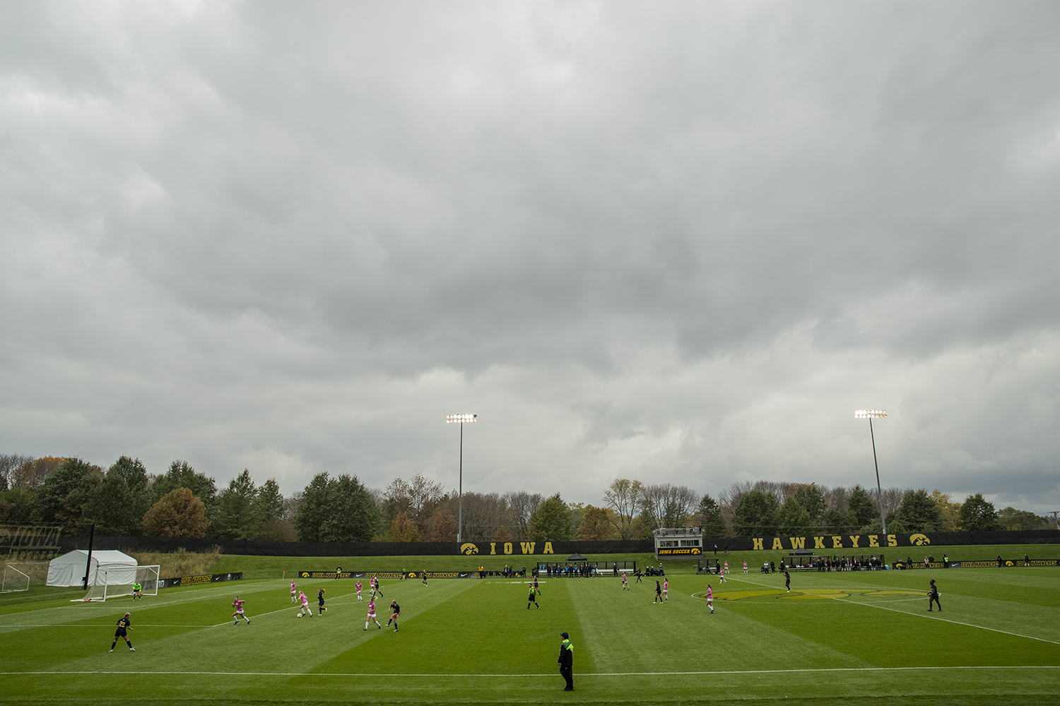 Iowa defends a counter during Iowa's game against Michigan at The Hawkeye Soccer Complex on Sunday, October 14, 2018. The Hawkeyes defeated the Wolverines 1-0.