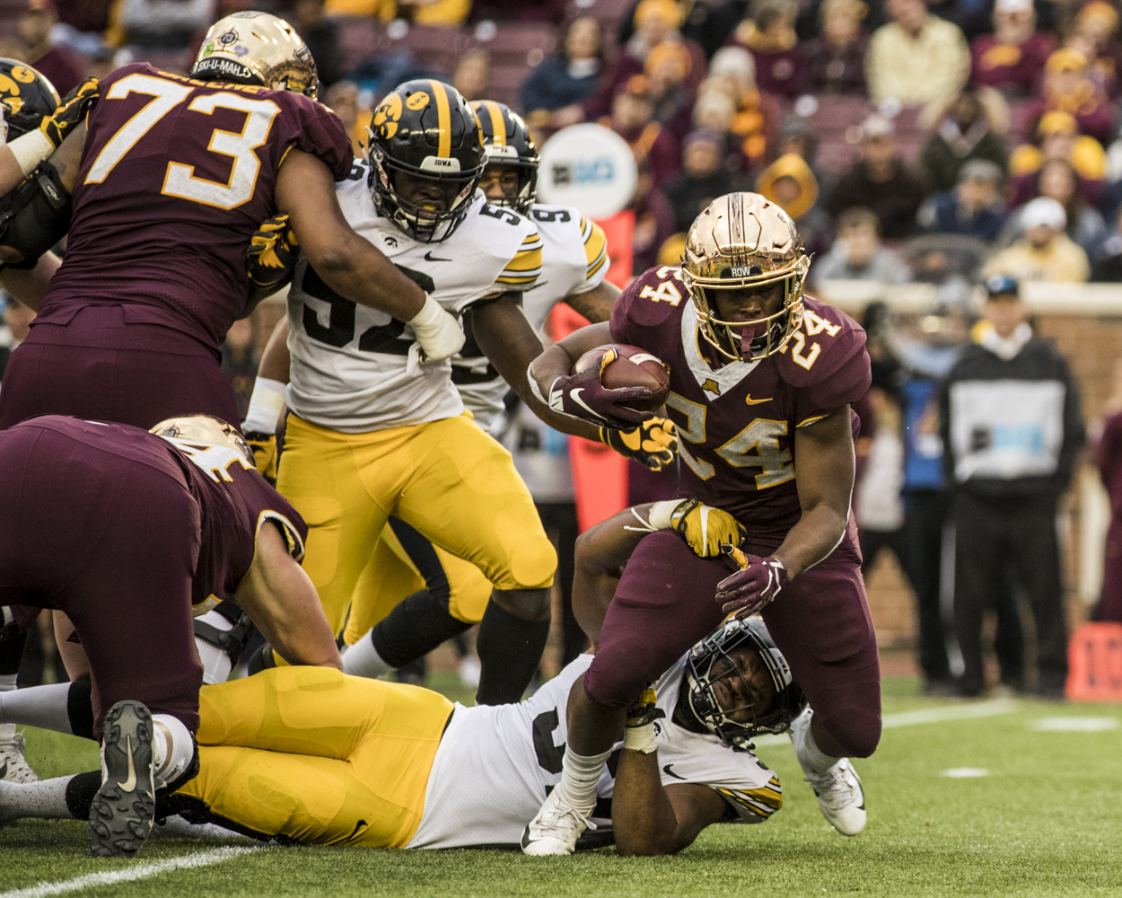 Minnesota+running+back+Mohammed+Ibrahim+carries+the+ball+during+Iowa%27s+game+against+Minnesota+at+TCF+Bank+Stadium+on+Saturday%2C+October+6%2C+2018.+The+Hawkeyes+defeated+the+Golden+Gophers+48-31.