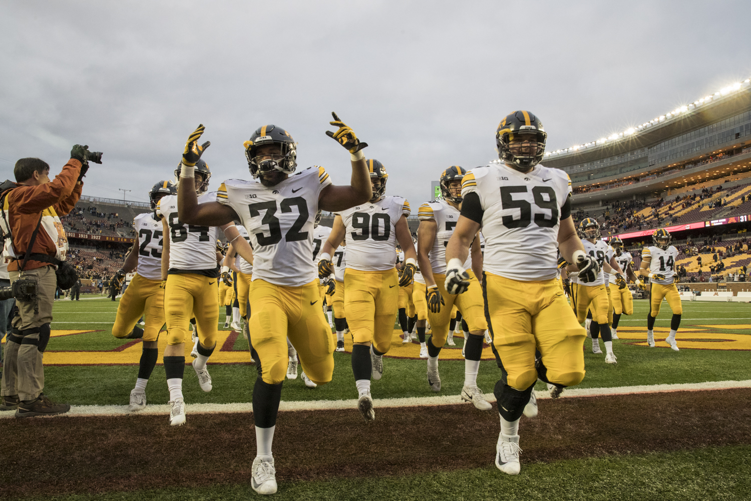 Iowa players celebrate their victory after their game against Minnesota at TCF Bank Stadium on Saturday, October 6, 2018. The Hawkeyes defeated the Golden Gophers 48-31.