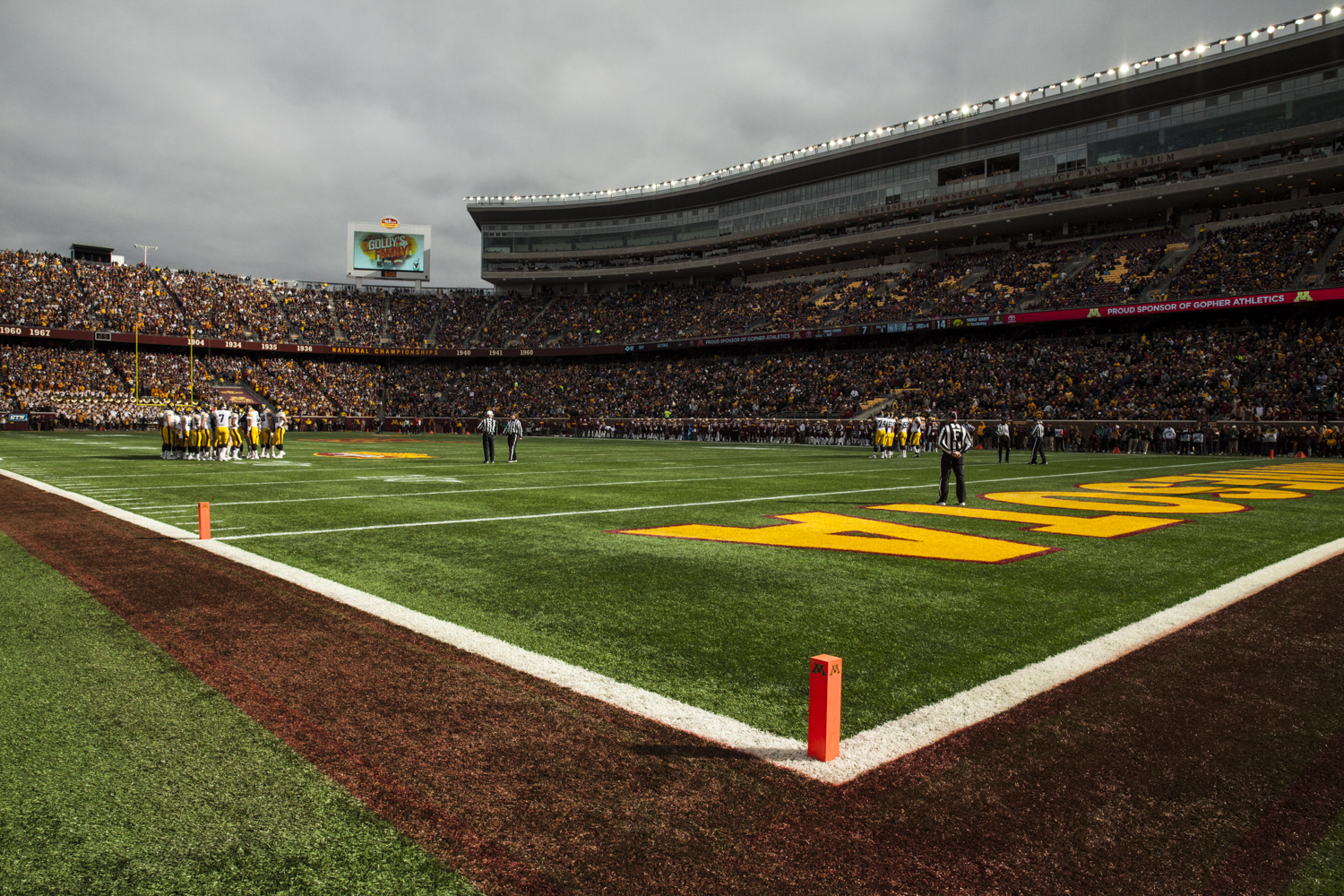 The+Iowa+offense+huddles+during+their+game+against+Minnesota+at+TCF+Bank+Stadium+on+Saturday%2C+October+6%2C+2018.+The+Hawkeyes+defeated+the+Golden+Gophers+48-31.