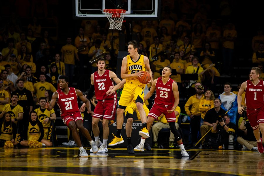 Iowa+forward+Nicholas+Baer+intercepts+a+pass+during+Iowa%27s+game+against+Wisconsin+at+Carver-Hawkeye+Arena+on+November+30%2C+2018.+The+Hawkeyes+were+defeated+by+the+Badgers%2C+72-66.%28Megan+Nagorzanski%2FThe+Daily+Iowan%29