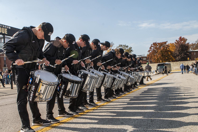 The+Purdue+drum+line+performs+during+the+Iowa%2FPurdue+game+at+Ross-Ade+Stadium+in+West+Lafayette%2C+Ind.+on+Saturday%2C+November+3%2C+2018.+%28Katina+Zentz%29