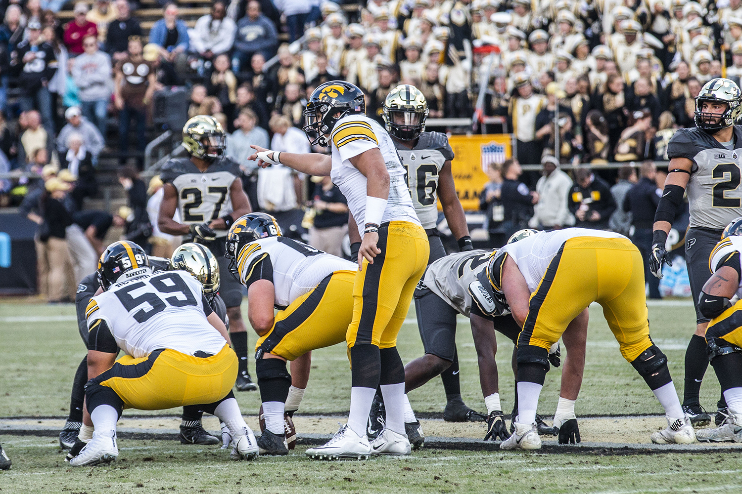 Iowa+quarterback+Nate+Stanley+calls+out+a+play+during+the+Iowa%2FPurdue+game+at+Ross-Ade+Stadium+in+West+Lafayette%2C+Ind.+on+Saturday%2C+November+3%2C+2018.+The+Boilermakers+defeated+the+Hawkeyes+38-36.+