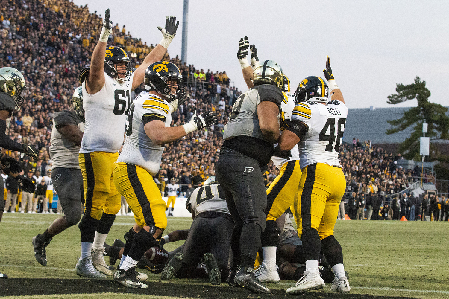 Iowa+players+signal+a+touchdown+during+the+Iowa%2FPurdue+game+at+Ross-Ade+Stadium+in+West+Lafayette%2C+Ind.+on+Saturday%2C+November+3%2C+2018.+The+Boilermakers+defeated+the+Hawkeyes+38-36.+