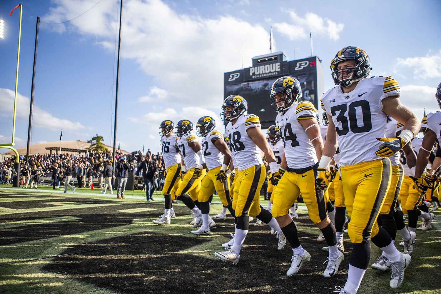 Iowa players enter the field during the Iowa/Purdue game at Ross-Ade Stadium in West Lafayette, Indiana on Saturday, Nov. 3, 2018. The Boilermakers defeated the Hawkeyes 38-36.