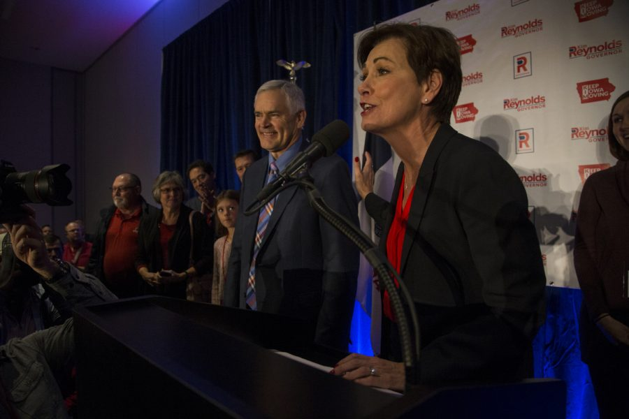 Governor+Kim+Reynolds+addresses+her+supporters+at+the+Hilton+in+Des+Moines+on+Wednesday%2C+November+7%2C+2018.+Reynolds+defeated+her+opponent%2C+Democratic+candidate+Fred+Hubbell+50.19%25+to+47.61%25+with+92+counties+reporting+in+an+unofficial+total.