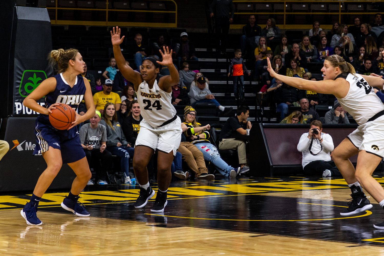 Iowa guard Zion Sanders #24 closes down on an opposing player during a women's basketball game against Oral Roberts University on Friday, Nov. 9, 2018. The Hawkeyes defeated the Golden Eagles 90-77. (David Harmantas/The Daily Iowan)