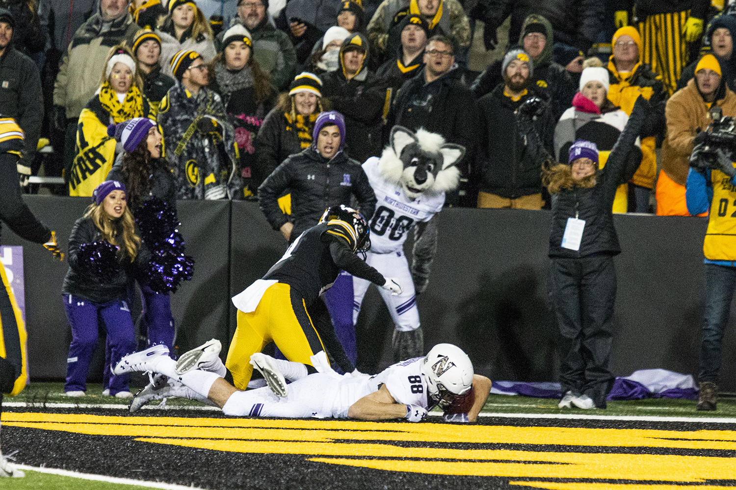 Northwestern wide receiver Bennnet Skowronek catches a touchdown pass during the Iowa/Northwestern game at Kinnick Stadium on Saturday, November 10, 2018. The Wildcats defeated the Hawkeyes 14-10. (Katina Zentz/The Daily Iowan)