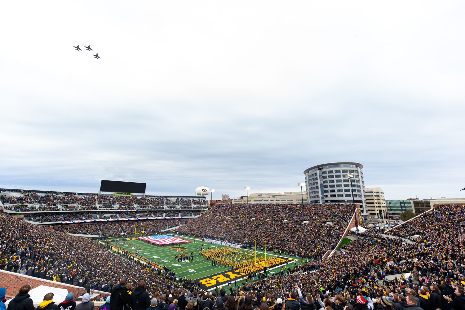 Three+Boeing+F%2FA-18F+Super+Hornets+from+the+US+Navy%27s+Fighter+Squadron+VF-103+fly+over+Kinnick+Stadium+before+a+game+against+Northwestern+University+on+Saturday%2C+Nov.+10%2C+2018.+The+Wildcats+defeated+the+Hawkeyes+14-10.+%28David+Harmantas%2FThe+Daily+Iowan%29