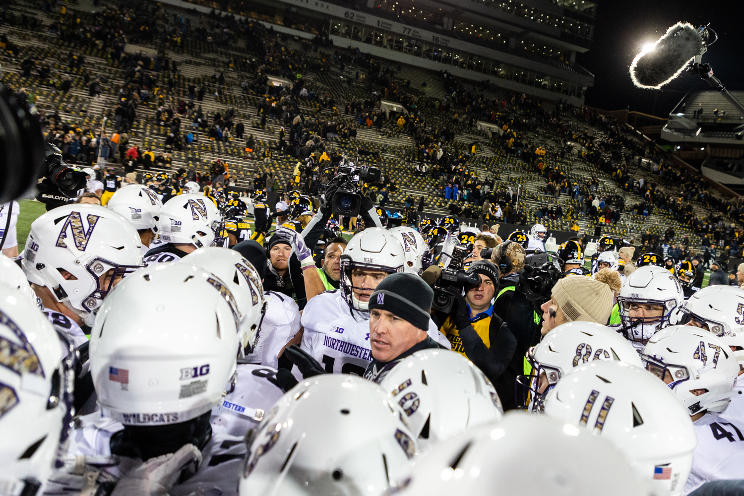 Northwestern+head+coach+Pat+Fitzgerald+addresses+his+team+at+midfield+after+a+game+against+Iowa+on+Saturday%2C+Nov.+10%2C+2018+at+Kinnick+Stadium+in+Iowa+City.+The+Wildcats+defeated+the+Hawkeyes+14-10.+%28David+Harmantas%2FThe+Daily+Iowan%29