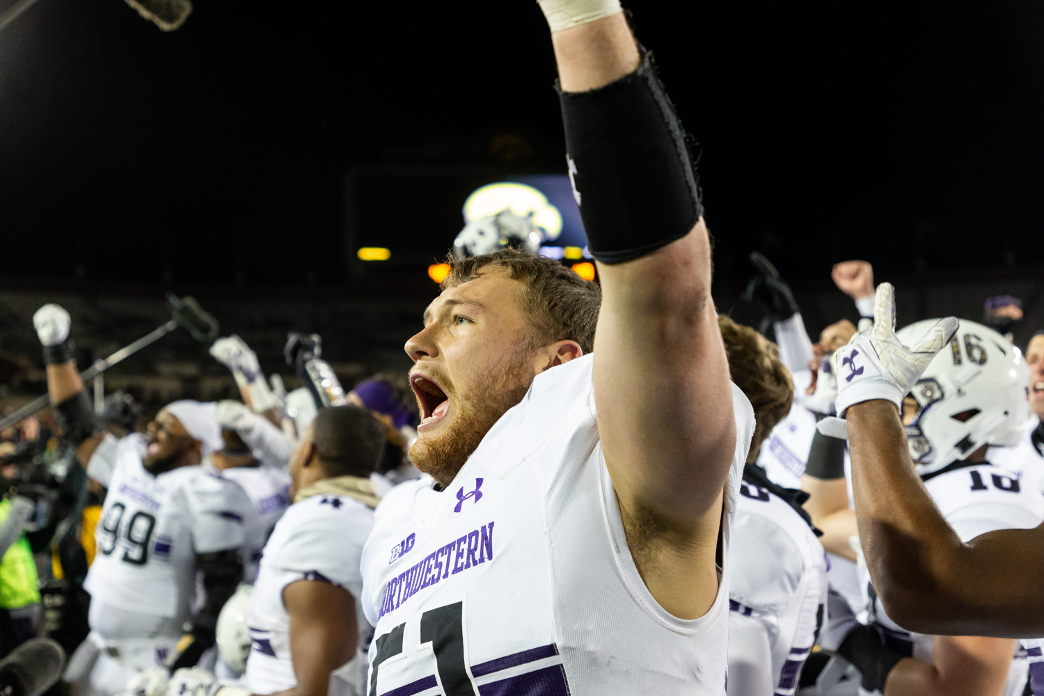 Northwestern+linebacker+Blake+Gallagher+%2351+celebrates+after+a+game+against+Northwestern+University+on+Saturday%2C+Nov.+10%2C+2018+at+Kinnick+Stadium+in+Iowa+City.+The+Wildcats+defeated+the+Hawkeyes+14-10.+%28David+Harmantas%2FThe+Daily+Iowan%29