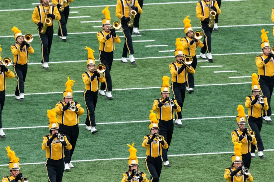 Members+of+the+Iowa+Marching+Band+come+onto+the+field+before+a+game+against+Northwestern+University+on+Saturday%2C+Nov.+10%2C+2018+at+Kinnick+Stadium+in+Iowa+City.