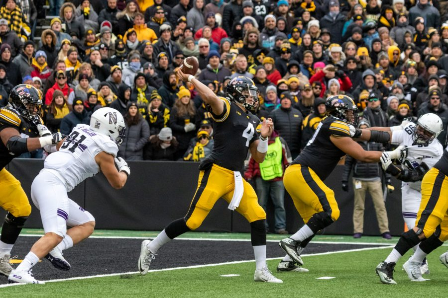 Iowa+quarterback+Nate+Stanley+%284%29+drops+back+to+pass+during+a+game+against+Northwestern+University+on+Saturday%2C+Nov.+10%2C+2018+at+Kinnick+Stadium+in+Iowa+City.+The+Wildcats+defeated+the+Hawkeyes+14-10.+