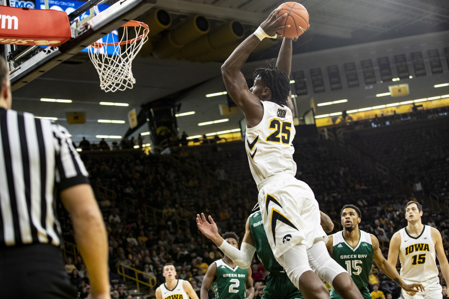 Iowa's Tyler Cook dunks the ball mid-way through the second half during the Iowa vs. Green Bay basketball game. The Hawkeyes defeated the Phoenix 93-83 at Carver-Hawkeye Arena on Sunday, Nov. 11, 2018. Iowa continues its undefeated record next week against No. 14 Oregon.