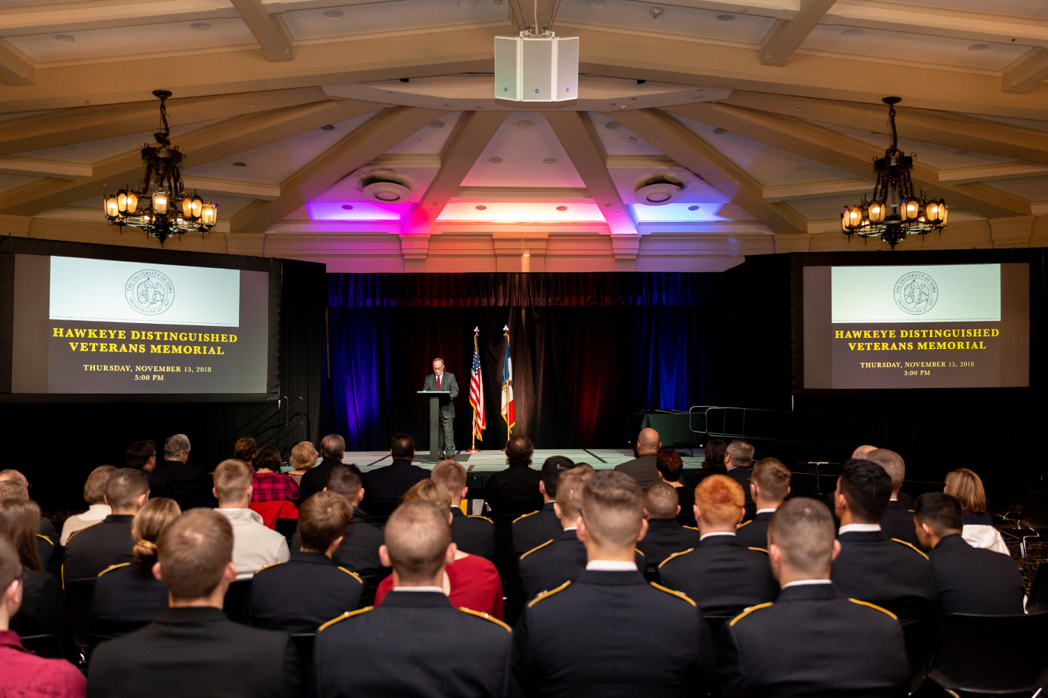 Maj.+Gen.+%28retired%29+Stewart+Wallace+addresses+the+crowd+at+the+Hawkeye+Distinguished+Veterans+Memorial+Awards+Ceremony+at+the+IMU+on+Thursday%2C+Nov.+15%2C+2018.+