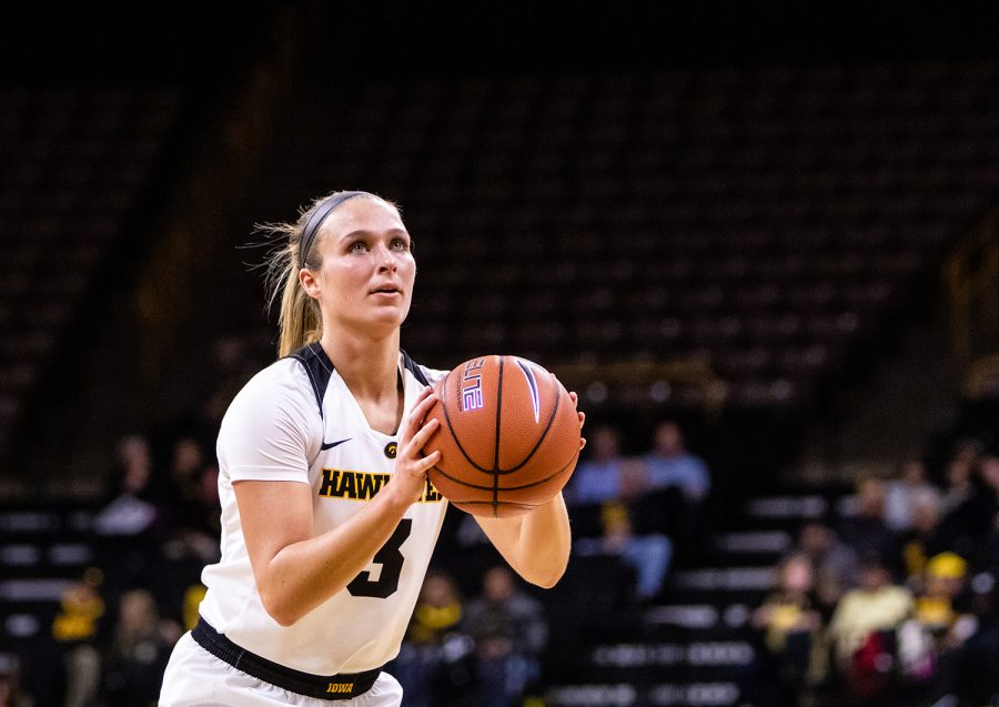 Iowa guard Makenzie Meyer #3 sizes up the basket for a free throw during a women's basketball game against Oral Roberts University on Friday, Nov. 9, 2018. The Hawkeyes defeated the Golden Eagles 90-77.