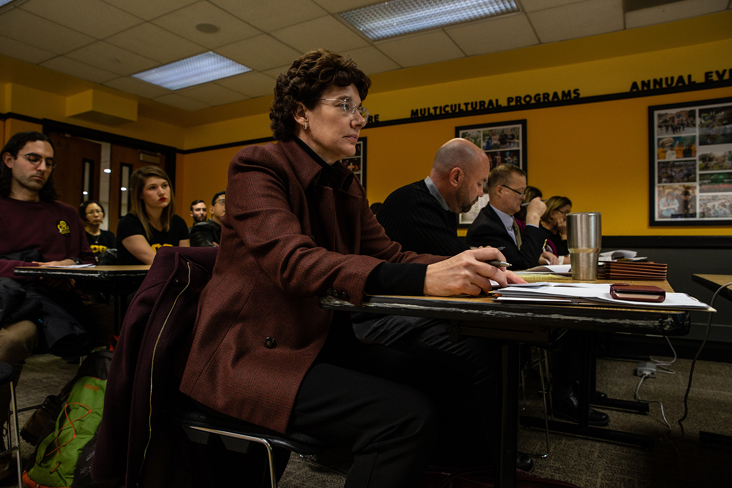 The Iowa Board of Regents Bargaining Committee hears proposals during the COGS policy proposal meeting on Wednesday, Nov. 28, 2018. The COGS policy proposal aims to solidify salaries, hours of work, benefits, and other terms and conditions for graduate students.